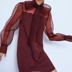 Organza Bow Tie Contrasting Mini Dress ZARA NWT